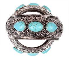 Ladies Classic Turquoise Alloy Silver Plating Bracelet Jewel Bracelet