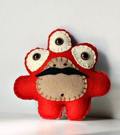 Stuffed Plush MonsterPlush Felt Monster Alien Plush by saumansmith, $10.00...this put a smile on my face :)