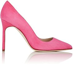 "Manolo Blahnik's hot pink suede BB pumps are styled with a pointed toe and a stiletto heel. Handmade. 4""/105mm heel (approximately). Pointed toe. Suede-covered stiletto heel. Slips on. Lined with leather. Leather sole. Available in Hot Pink. Made in Italy.;SUEDE"