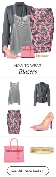 """pink & grey"" by divacrafts on Polyvore featuring moda, Donna Karan, City Chic, Copper Key, Christian Louboutin, Hermès, Badgley Mischka, Liz Claiborne y Original"