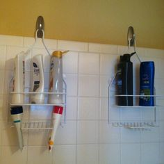 Can't find a good place to hang your shower things? Use command strip hooks!