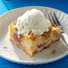 Rhubarb Berry Coffee Cake Recipe -I rely on a cake mix to speed the prep for this moist streusel-topped dessert that pairs tart rhubarb with sweet strawberries. It's great all by itself, but feel free to add some frosting or ice cream. —Jackie Heyer, Cushing, Iowa