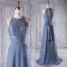 2017 Steel Blue Chiffon Boho Bridesmaid Dress, Sweetheart Illusion Wedding Dress, Bow Back Prom Dress, Lace Evening Gown Floor Length