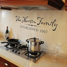Personalized family established sign- Vinyl Wall Decal Wall Words Lettering Design - Family name with date established. $27.00, via Etsy.