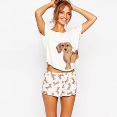 Sets Dachshund Perro de Impresión de Las Mujeres lindas 2 Unidades Set Crop Top + Shorts de Punto Elástico Flojo Tops Plus Tamaño de Cintura Elástica S6706