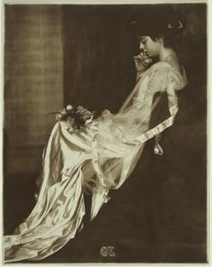 Girl In Satin Dress With Roses, Gertrude Kasebier