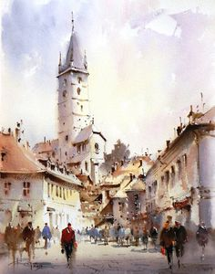 Corneliu Dragan-Targoviste The town perspective lines and people draw your eye to the centre of the image, making the tower the focal point. Nicely placed against a subtly variegated sky.