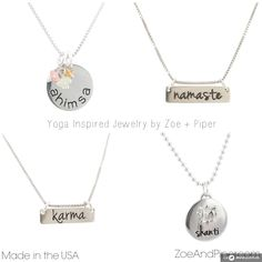#yoga inspirted #jewelry by #zoeandpiper #ahimsanecklace #namastenecklace #karmanecklace #shantinecklace