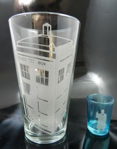 10th Doctor and Tardis Glass Irish Car Bomb Set. $20.00, via Etsy.