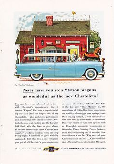 vintage ad for a 1950's blue Chevrolet by route44west on Etsy, this is a good source for vintage illustrations, ads, and paper ephemera.  #vintage illustrations #paper ephemera #vintage ads