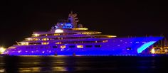 The Dilbar is a $600 million 511 foot long super-yacht. Its the largest yacht in the world by volume. It has over 40,000 sq ft of living space and can carry up to 40 guests and crew members.  It has a gym, jacuzzi, pool and movie theater as well as two helipads.