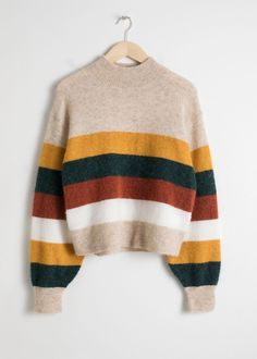 Striped Wool Blend Sweater Mock neck wool blend sweater with a multicoloured st. - Striped Wool Blend Sweater Mock neck wool blend sweater with a multicoloured stripe Dropped shoulder seams Length of sweater: / (size Model wears: Source by rdandana - Beige Pullover, Pullover Outfit, Beige Sweater, Crewneck Sweater, Gray Cardigan, Yellow Sweater, Sweater Outfits, Fall Outfits, Casual Outfits