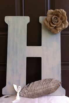Burlap Wedding Guest Book Wooden Letter!!! LOVE BURLAP!!