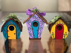 One hand-painted miniature house mini fairy house mini Wooden Bird Houses, Decorative Bird Houses, Bird Houses Painted, Bird Houses Diy, Painted Birdhouses, Homemade Bird Houses, Fairy Houses, House Painting, Diy Painting