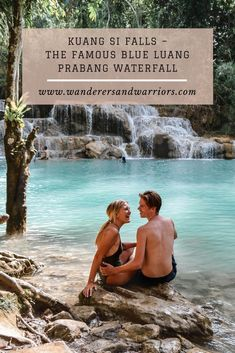 Kuang Si Waterfall Luang Prabang Laos - South East Asia Waterfalls - Best Waterfalls In Asia - Wanderers & Warriors - Charlie & Lauren UK Travel Couple Laos Travel, Solo Travel, Asia Travel, Travel Plan, Travel Ideas, Wanderlust Travel, Travel Tips, Couple Goals, Famous Waterfalls