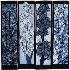 Sakura Quilt: hand dyed indigo shibori with sashiko hand quilting by Carol Anne Grotian - her cherry tree through 4 seasons