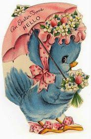 Vintage Blue Bird Easter Card - Gift Idea for Birds Easter Greeting Cards, Vintage Greeting Cards, Vintage Postcards, Easter Card, My Funny Valentine, Vintage Valentines, Easter Pictures, Easter Images Clip Art, Diy Ostern