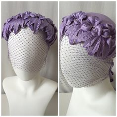 1950's Lilac / Lavender Veiled Clutch Hat // vintage purple netted hat // beautiful 50's light purple hat