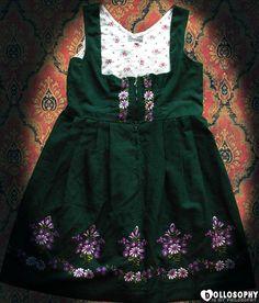 Authentic German Vintage Dirndl Drindl Dolly Kei Embroidered Flower Summer Autumn Floral Boho Mori Japan Vintage Lace Green White L XL. €67.00, via Etsy.