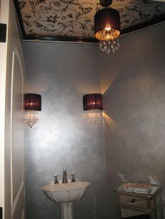 Powder Room With Metallic Paint On Ceiling Stencil And Metallic Plaster On  Walls.