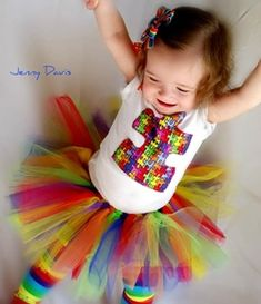 Autism Awareness Tutu Set from Fit For A Princess. Each time the Autism Awareness tshirt or tutu set is purchased 50% of the proceeds will be donated to Autism Speaks.