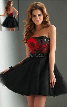 Black Ball Gown Short Strapless Dress [Dresses 9262] - $131.00 :