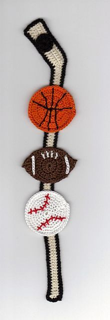 Ravelry: Sports Themed Thread Crochet Bookmark pattern by LinMarie Creations.