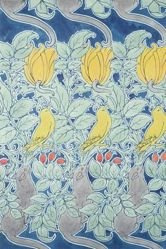 Birds, or Let us Pray, textile design by CFA Voysey, 1909 Textile Prints, Textile Patterns, Textile Design, Textiles, Graphic Patterns, Print Patterns, Wallpaper Stencil, Art Nouveau Pattern, Arts And Crafts Movement