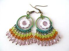 Beaded Chandelier Earrings Floral Dangles by moonlilydesigns
