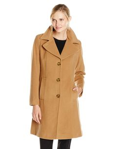Anne Klein Women's Single-Breasted Wool Cashmere Coat at Amazon Women's Coats Shop
