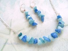 Beaded Jewelry Set Casual Blue Aqua Quartz Necklace Set Spring Summer Jewelry Fashion Jewelry Bar Necklace and Earrings Beach Jewelry by ARexrodeCreations on Etsy