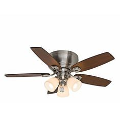 """Brushed Nickel Durant 44"""" 5 Blade Flush Mount Ceiling Fan - Blades and Light Kit Included"""