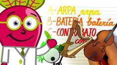 Aprende el #Abecedario y descubre instrumentos musicales para #niños, en un #abc con el Doctor Beet, en este #vídeo educativo #infantil en #español. #Lectoescritura, #ortografía, #música, #mayúsculas, #minúsculas, #dibujos, #recursos, #aula. Instrumentos que aprendemos: arpa, batería, contrabajo, dulzaina, espineta, flauta y guitarra.