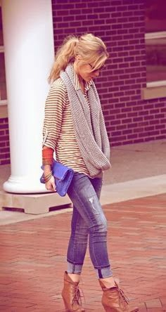 Striped top, blue jeans rolled up, brown booties, infinity scarf