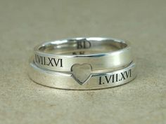 Ring band 3 mm roman numbers ring band with by JewelryGhouse