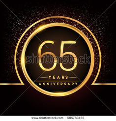 sixty five years birthday celebration logotype. 65th anniversary logo with confetti and golden ring isolated on black background, vector design for greeting card and invitation card.