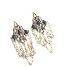 $3 bundled! Swingy Chandelier Chain Earrings These lightweight chained chandeliers sway and stun with every move. Faceted synthetic stones. Gunmetal and black. Gently worn a few times. Will reduce price to $3 for bundlers! Made in China Charming Charlie Jewelry Earrings