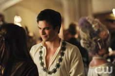 """The Vampire Diaries -- """"Monster's Ball"""" -- Image Number: VD505b_1055.jpg Pictured (L-R): Nina Dobrev as Elena (back to camera) and Ian Somerhalder as Damon -- Photo: Curtis Baker/The CW -- © 2013 The CW Network, LLC. All rights reserved."""