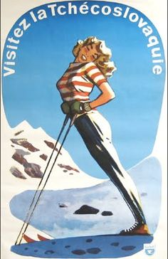 Visitez la tschecoslovaquie (visit czech) (graphic) art старые плакаты о пу Ski Vintage, Vintage Ski Posters, Retro Poster, Vintage Postcards, Vintage Book Covers, Art Graphique, Vintage Advertisements, Illustrations Posters, Graphic Art