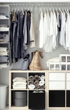 Reach-in closet space with sliding doors and IKEA furniture and fittings. - Ikea DIY - The best IKEA hacks all in one place
