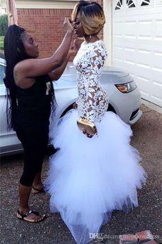 White Lace Long Prom Dresses 2018 Black Girls Sheer Long Sleeves Tulle Floor Length Formal Party Evening Gowns Vestidos De Festa BA5080
