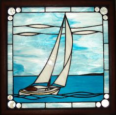 stained glass boats | AT Designs: Sailboat Stained Glass Panel