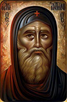 Anthony the Great More icons of venerable saints… Byzantine Art, Byzantine Icons, Christian Images, Christian Art, Religious Icons, Religious Art, Anthony The Great, San Antonio Abad, Saint Antony