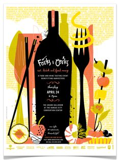 Forks & Corks Posters by Willoughby Design, via Behance Typography Layout, Graphic Design Typography, Branding Design, Fork And Cork, Web Design Awards, Wine Poster, Plakat Design, Festival Posters, Retro Art