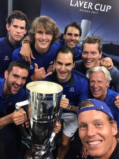 Team Europe (Dominic Thiem, Alexander Zverev, Rafael Nadal, Bjorn Bork, Roger Federer, Marin Cilic & Tomas Berdych) win the Laver Cup in Prague, September 2017.