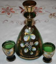 Vintage Dainty Venetian Fine Glass Decanter/Glasses Baroque Hand Painted Rococo