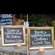 Signature drinks!! - love the chalkboards too!
