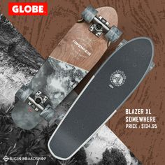 """The Blazer """"Somewhere"""" cruiser board is a mini wooden diamond-tail cruiser with soft conical wheels. It is available in size x x It features a hard rock maple base with a mellow concave with kick tail. Cruiser Boards, Skate And Destroy, Supra Shoes, Complete Skateboards, Skate Decks, Skate Park, Thrasher, Rip Curl"""