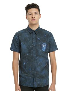 <p>Fashion trends change, but you know what's always in style? The TARDIS. Keep your outfit on point as you travel through space and time in this short-sleeved woven from Doctor Who. It features a galaxy print, the TARDIS embroidered on the pocket and front button-up closure.</p>  <ul> <li>100% cotton</li> <li>Wash cold; dry low</li> <li>Imported</li> <li>Listed in men's sizes</li> <&#x2F...