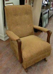 Gold Vintage Rocker Rocking Chair Recliner FRESHLY REUPHOLSTERED